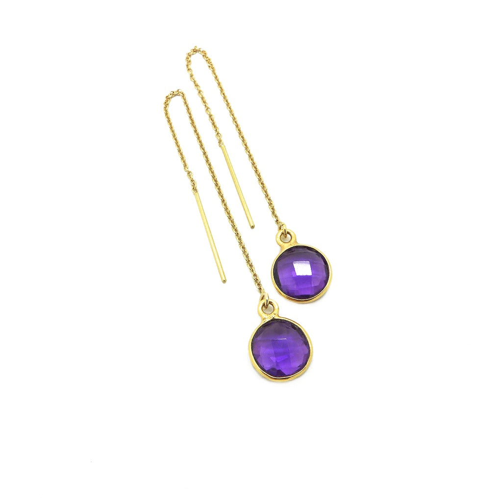 Gold Filled Hydro Amethyst Threader Earrings