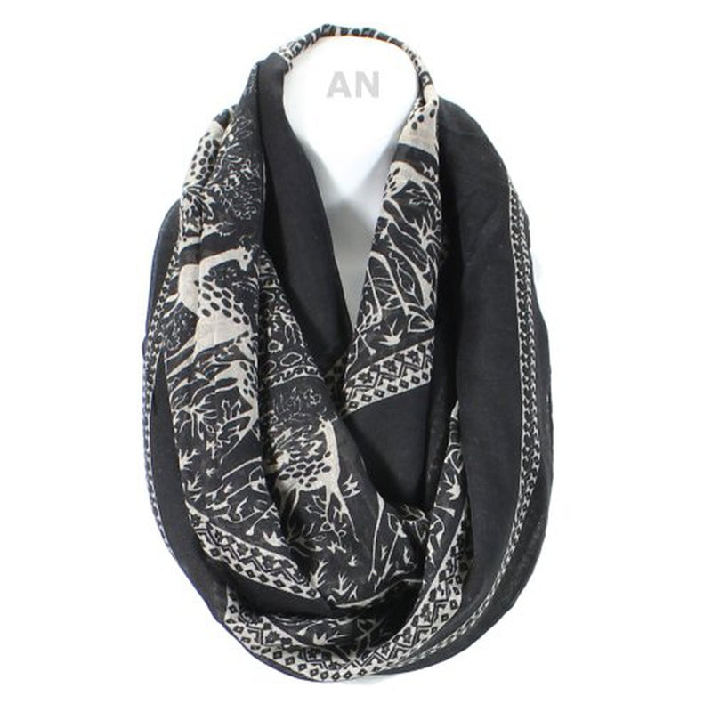 Extra-Full Monochrome Forest Print Infinity Scarf