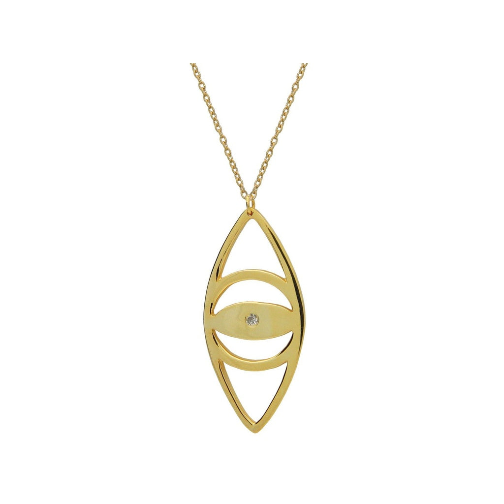 Large Evil Eye Pendant Necklace in 18k Gold Plated Sterling Silver, 24""