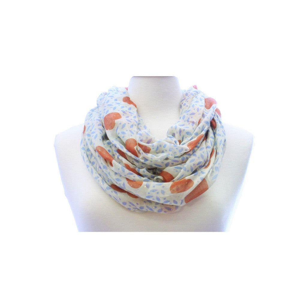 Orange Glitter Heart Wide Infinity Scarf Lightweight