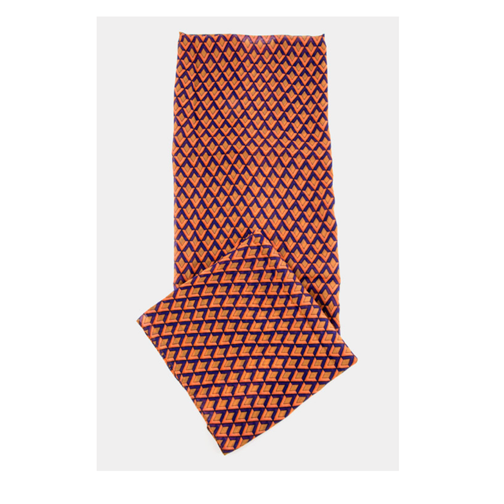 Orange Geometric Print Scarf