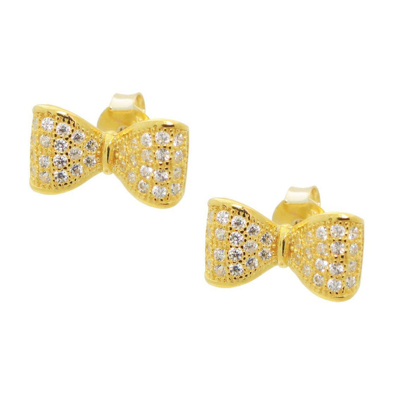 BecKids Sparkling CZ Golden Bow Ribbon Stud Earrings in Vermeil