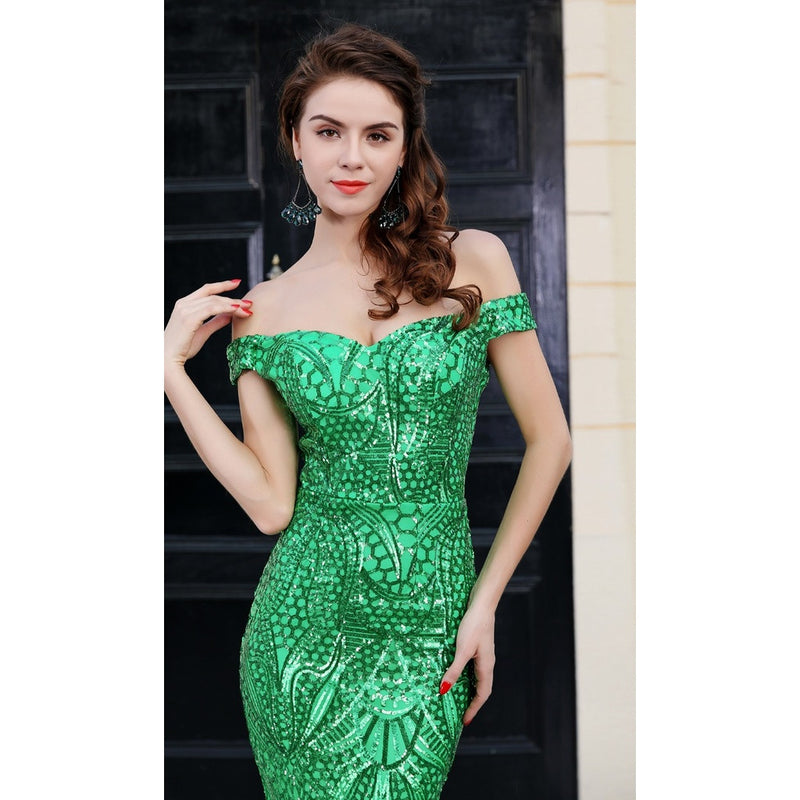 Green Sequin Gown