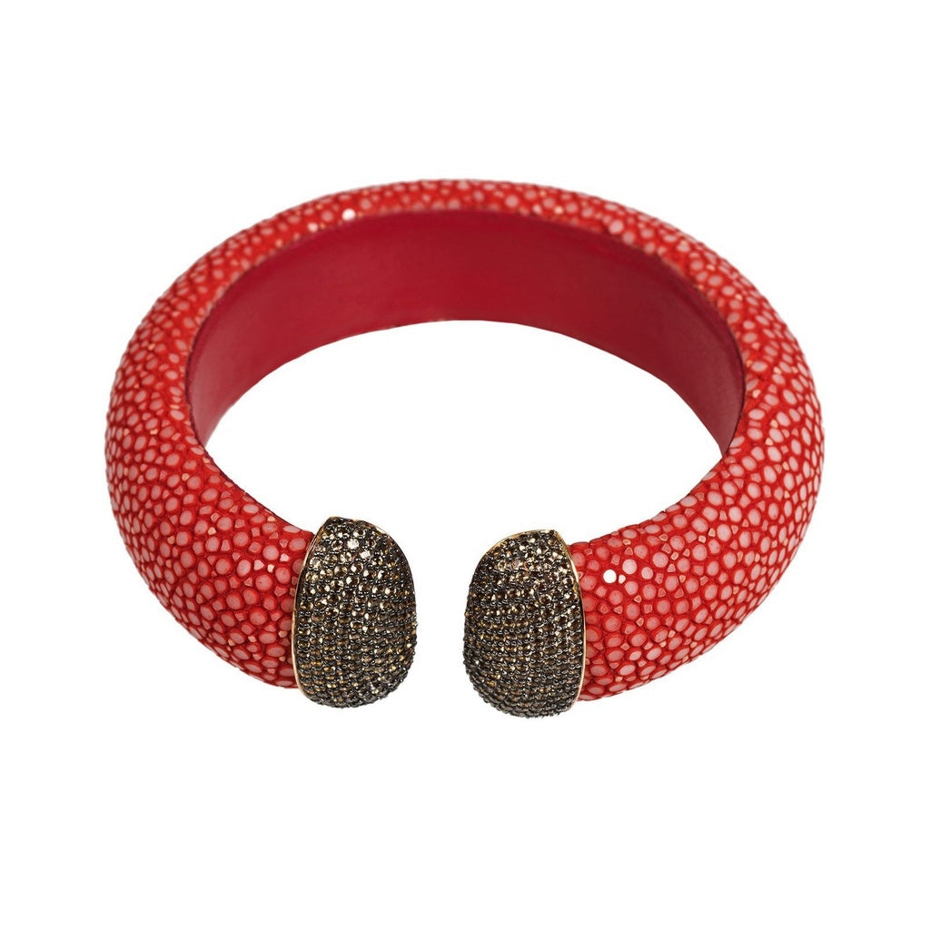 Stingray Cuff Gold - Chilli Red - Champagne CZ