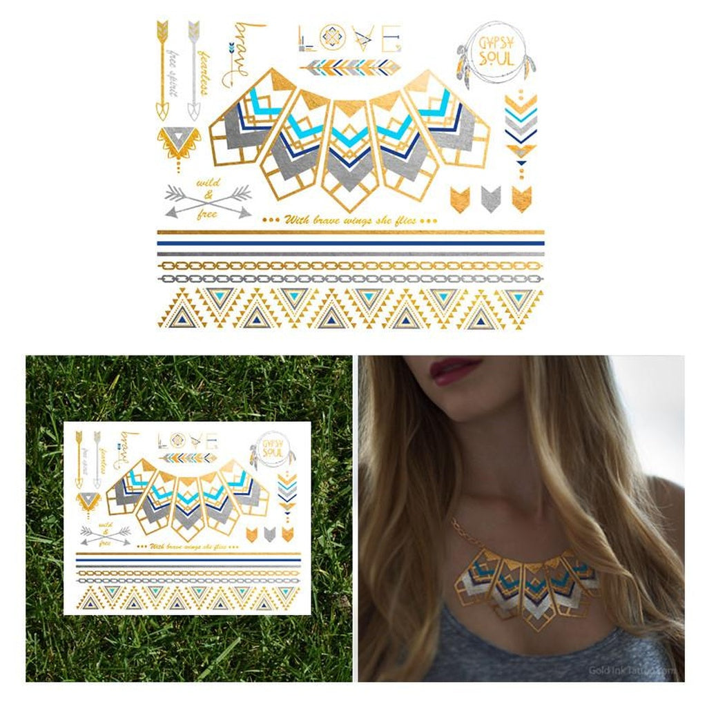 Native Necklace Tattoo Set Metallic Temporary Tattoo