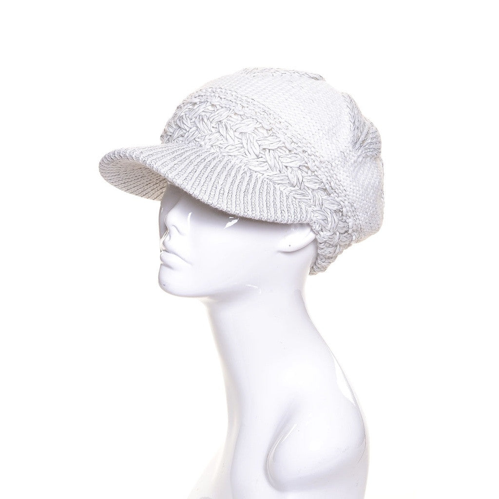 Womens Metallic Wool Knit Beanie Visor Lined