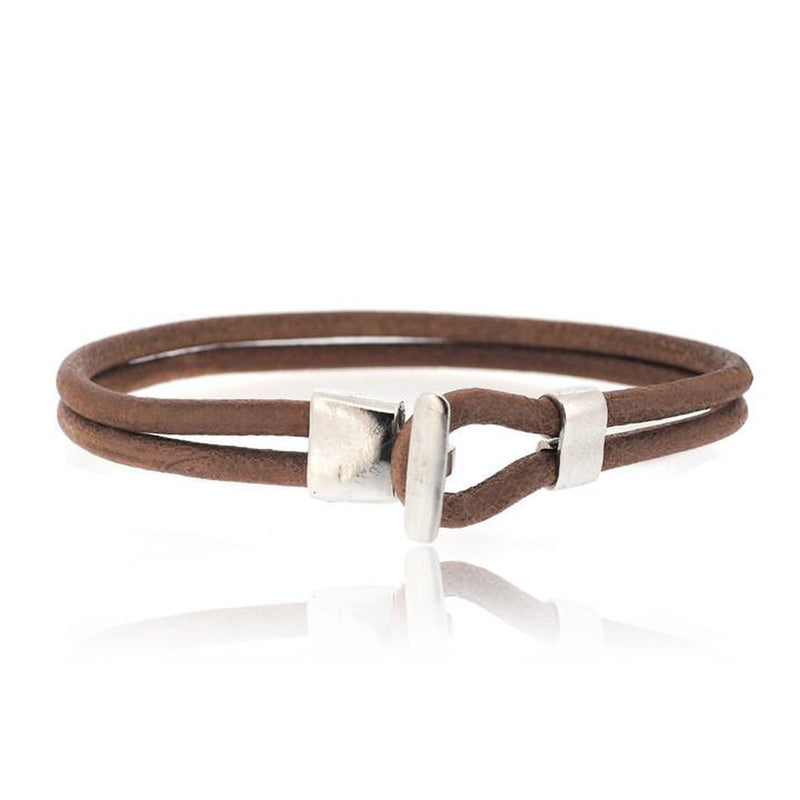 BROWN HOOK LEATHER BRACELET