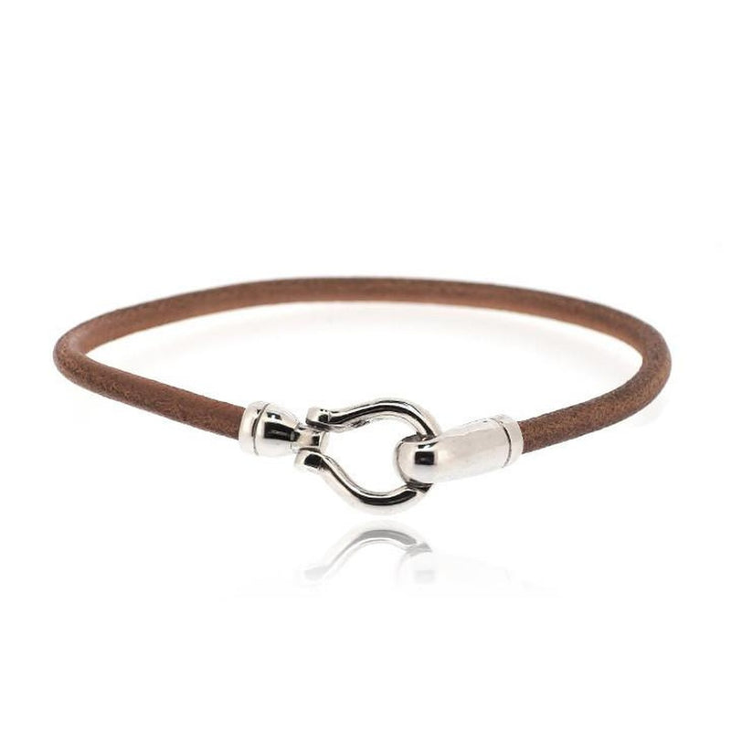 BROWN ROUND HOOK LEATHER BRACELET
