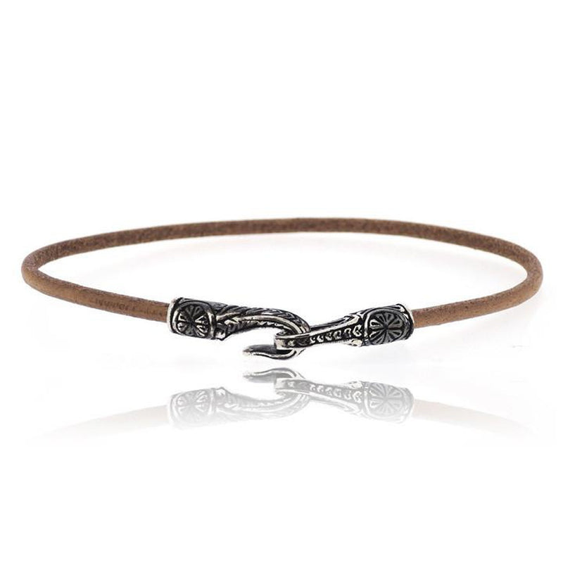 BROWN ANTIQUE HOOK LEATHER BRACELET