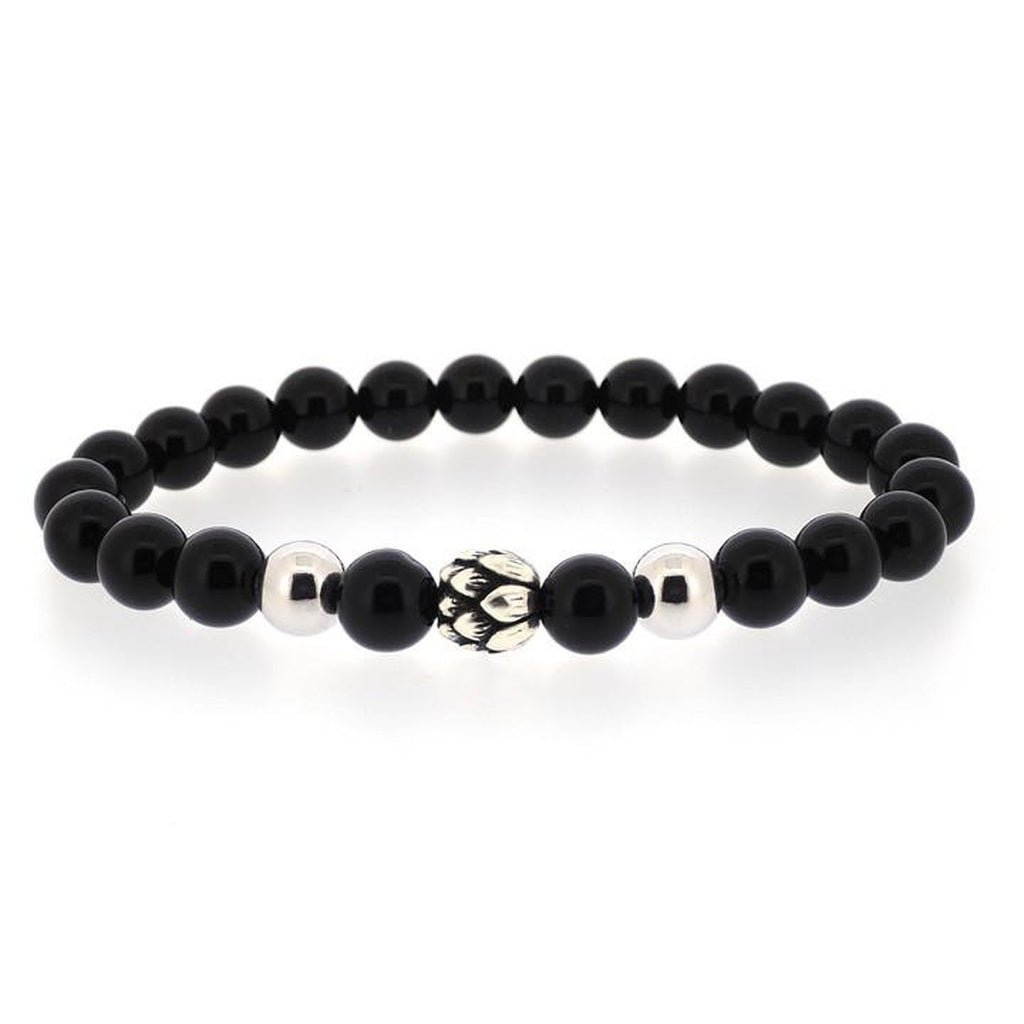 ONYX POWER BRACELET WITH SILVER LOTUS
