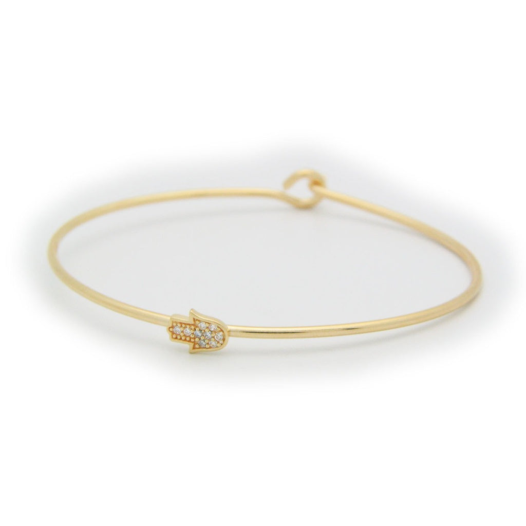 Thin CZ Golden Hamsa Bangle