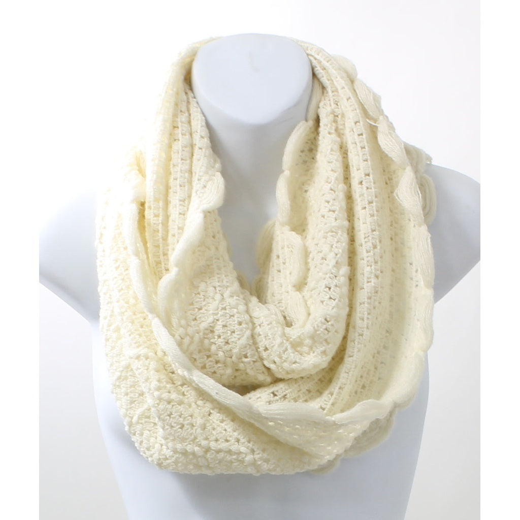 Scallop Edge Ivory Winter Infinity Scarf