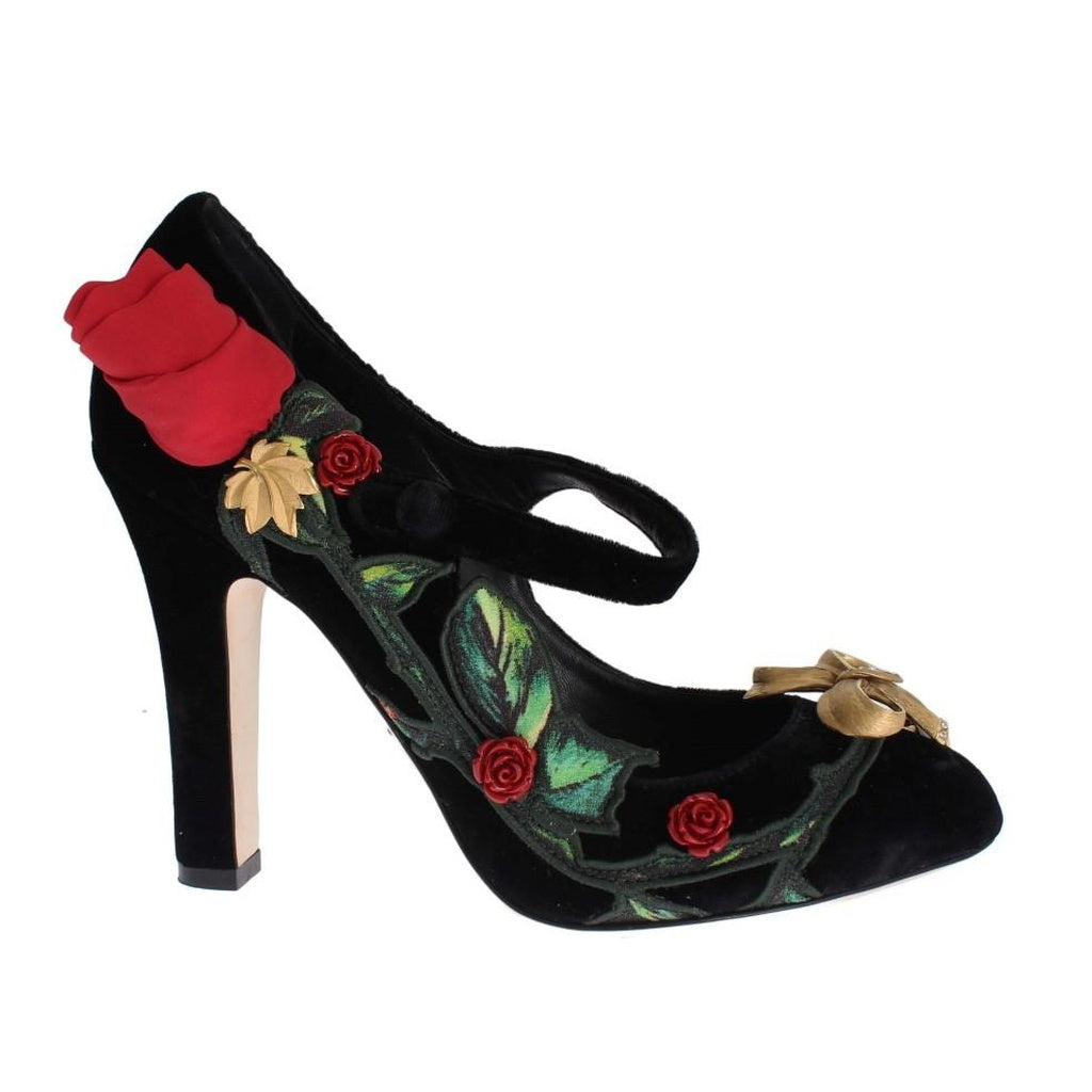 Black Velvet Roses Mary Janes Pumps
