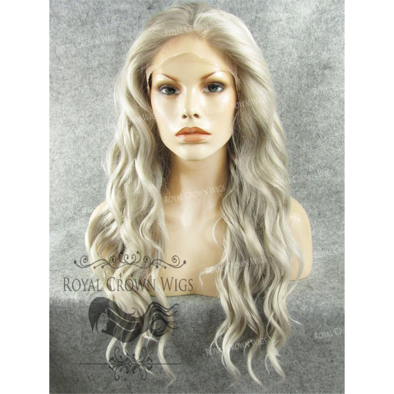 "24"" Synthetic Lace Front with Wave Texture in Gray"