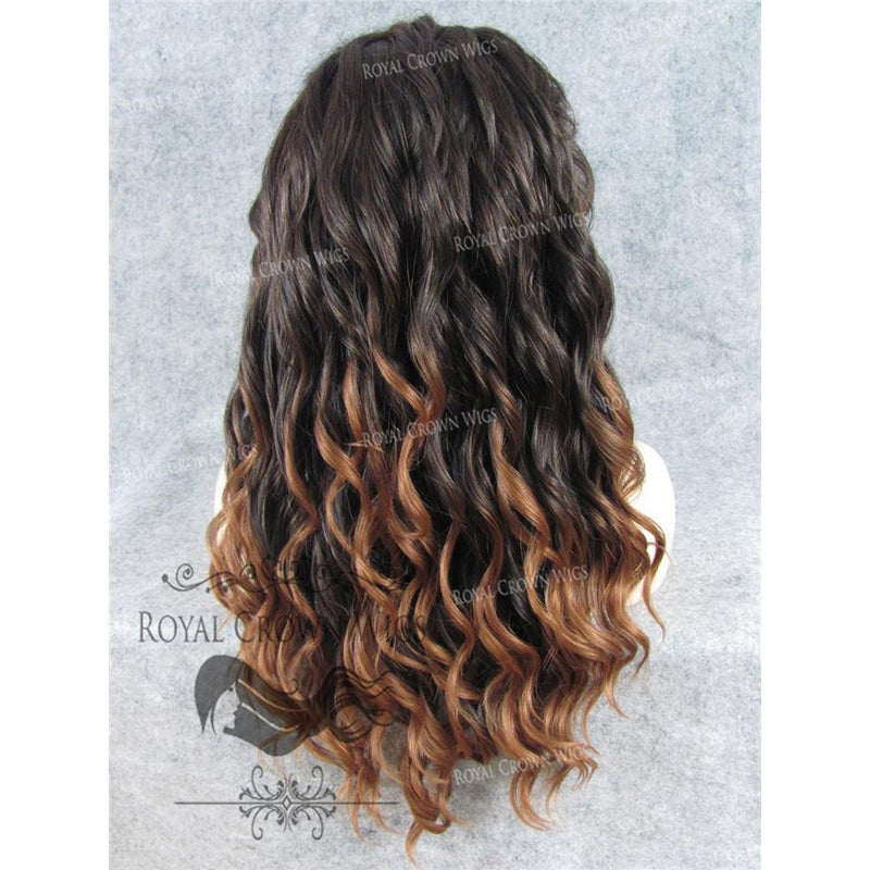 "24"" Synthetic Lace Front with Wave Texture in Dark Brown to Light Brown Ombre"