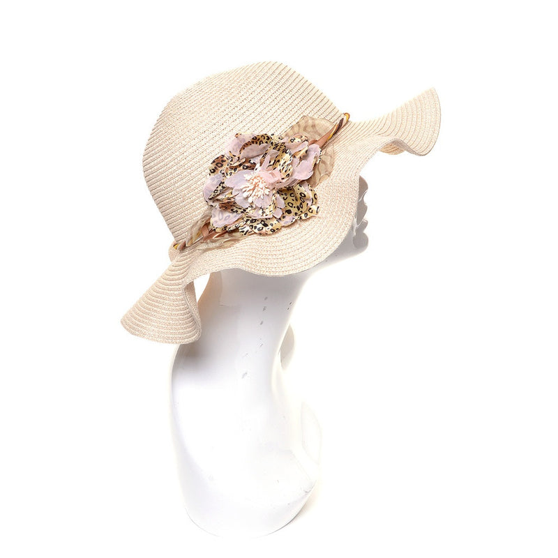 Womens Straw Hat with Flower Accent