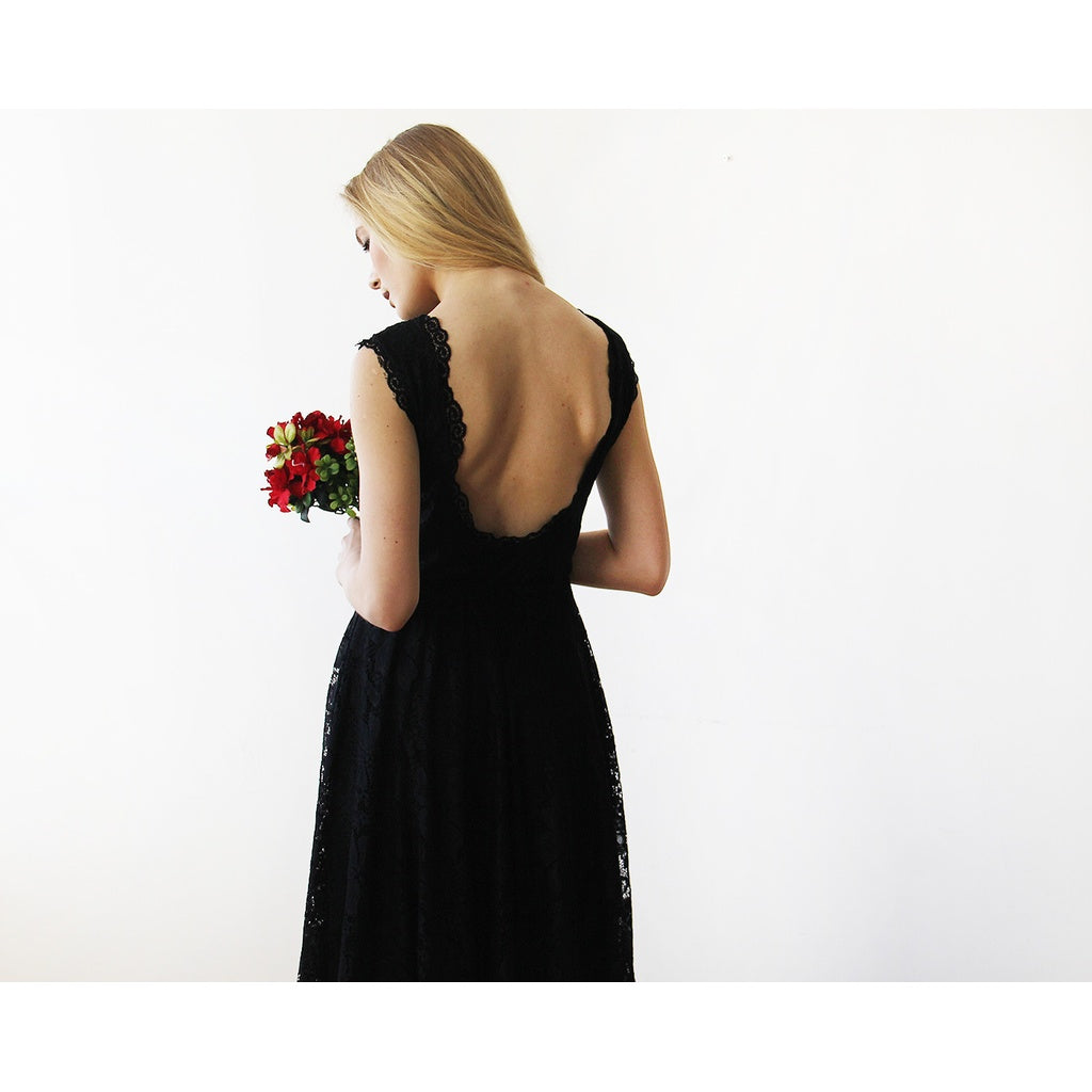 Open back lace midi sleeveless black dress 1143