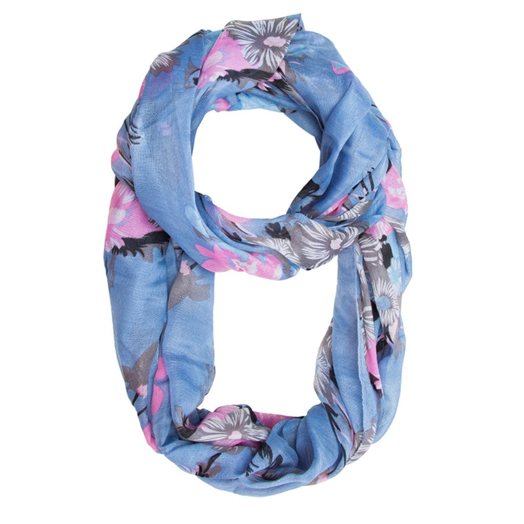 Blue & Pink Flower Infinity Scarf