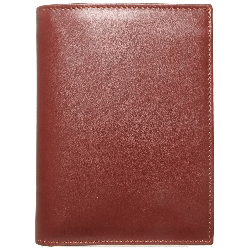 Buffed Calf Leather Pocket Billfold Wallet Brown