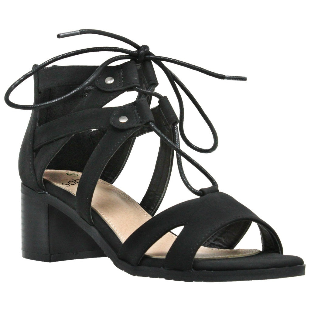 Lace Up Block Heel Sandal