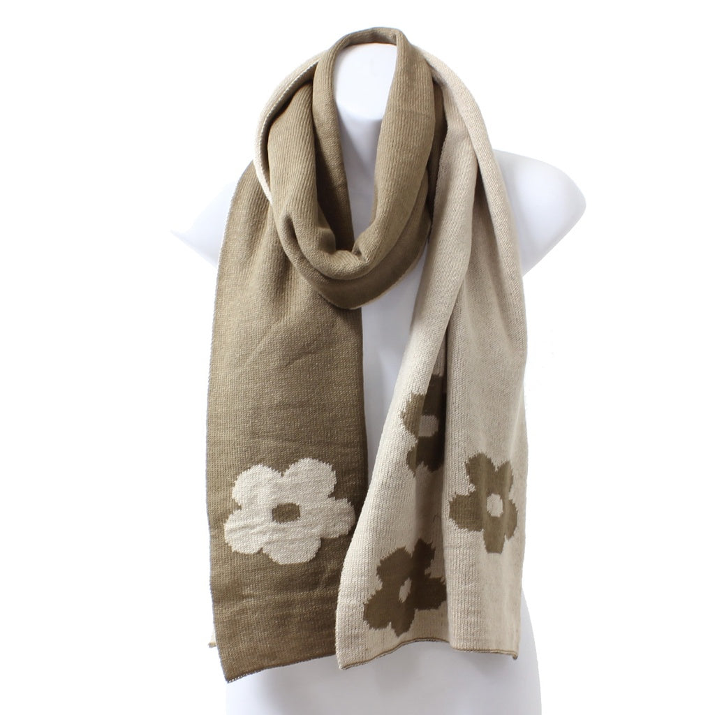 Womens Reversible Flower Knit Rectangle Beige Winter Scarf