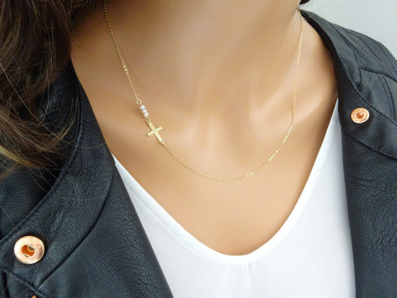Delicate Sideways Cross Necklace with three tiny Freshwater pearls, Holy trinity Necklace, Layering Necklace, Baptism, Christening jewelry