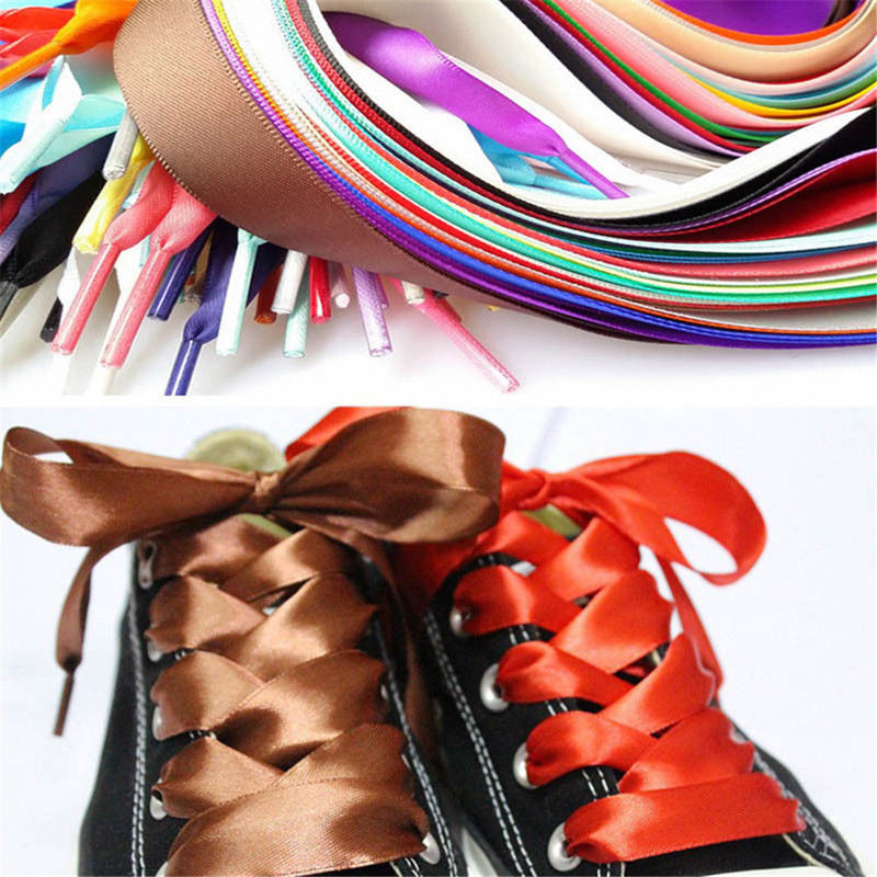 ITFABS Newest Arrivals Fashion Hot Shoelaces Flat Silk Satin Ribbon Sport Shoes Laces Sneakers Shoestrings