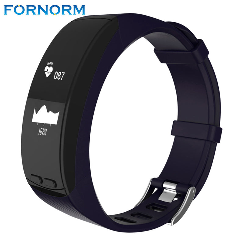 FORNORM Smart Bracelet  Alarm Clock Heart Rate Monitor Fitness Tracker Bracelet Smartband IOS Step Count with LED Touchpad