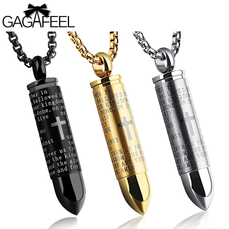 GAGAFEEL Men Necklace Bullet Necklace Pendant Stainless Steel Cross Necklaces Chain Bible Christian Necklaces Punk Rock Jewelry
