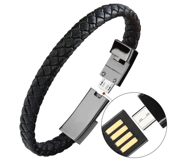 Outdoor Portable Leather Mini Micro USB Bracelet Charger Data Charging Cable Sync Cord For Phone 6s Android Type-C Phone Cable