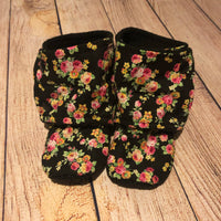 Size 5 Black Floral Booties