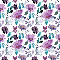 Blue Purple Floral on White (Pants)