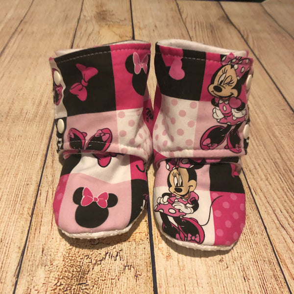 Size 6 Minnie Mouse Blocks Booties