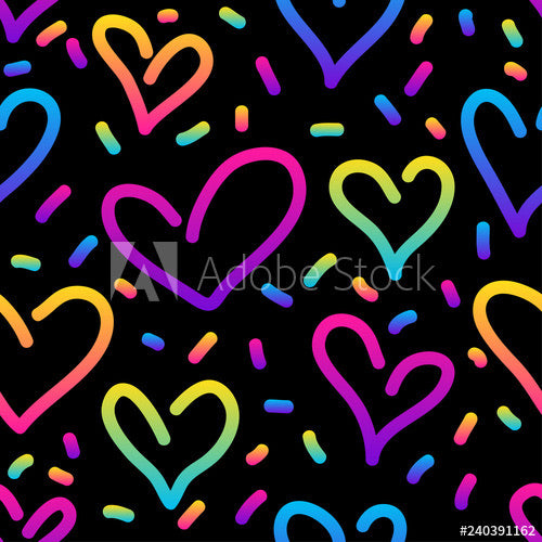 Rainbow Hearts Scribble (Peplum)