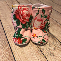 Roses on Pink Booties