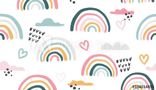 Drawn Rainbows on White (Sleeveless Dress)