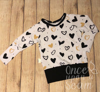 Black and Gold Hearts Crew Neck Grow With Me Sweater