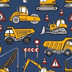 Construction Trucks on Blue (Slouchy Hat)