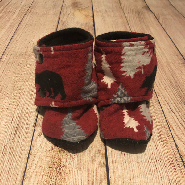 Size 6 Dark Red Bear Forest Booties