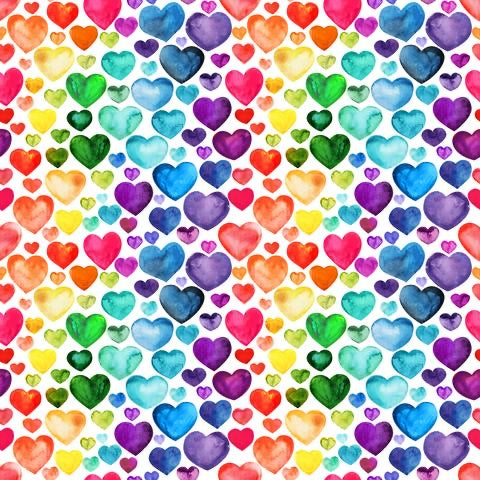 Watercolour Rainbow Hearts (Peplum)
