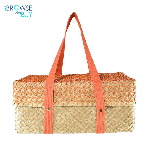 Picnic Basket - Natural and Orange