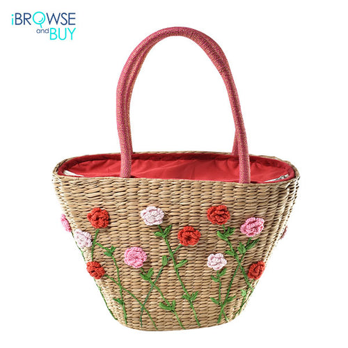 Tapered Hand Bag with Rose Garden Motif