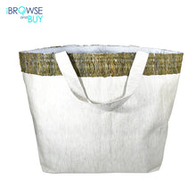 Beach Bag with Up Cycled Sugarcane Leaf Design