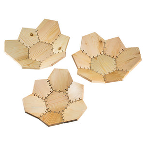 Contemporary Wooden Basket Set - Natural