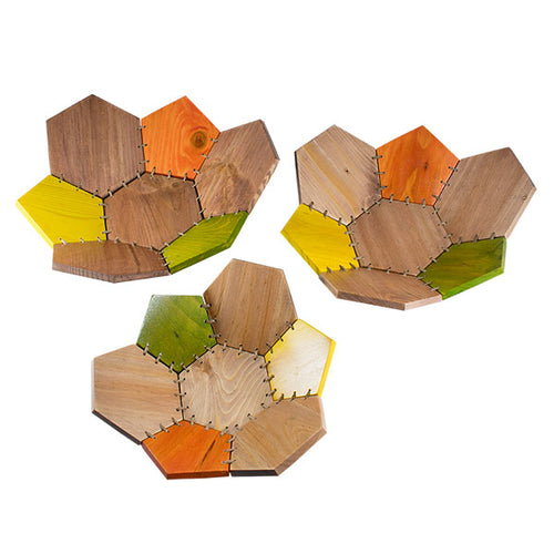 Contemporary Wooden Basket Set - Autumn