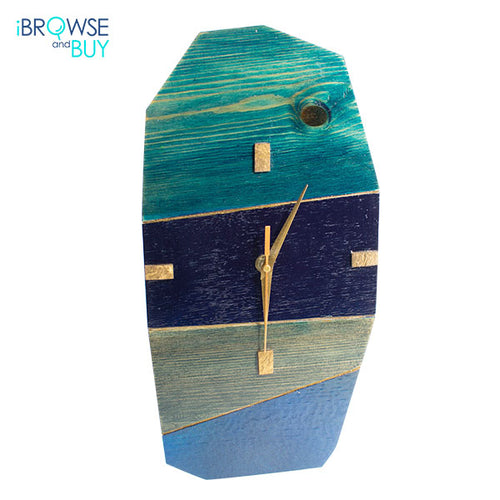 Wooden Contemporary Wall Clock - Shades of Blue