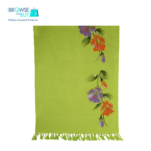 Handpainted Petite Shawl - Green, Gumamela Floral Design