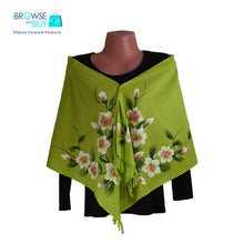 Handpainted Petite Shawl - Green, Cosmos Floral Design