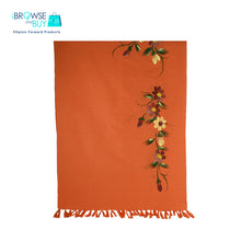 Handpainted Petite Shawl - Orange, Cosmos Floral Design