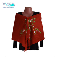 Handpainted Petite Shawl - Red, Cosmos Floral Design